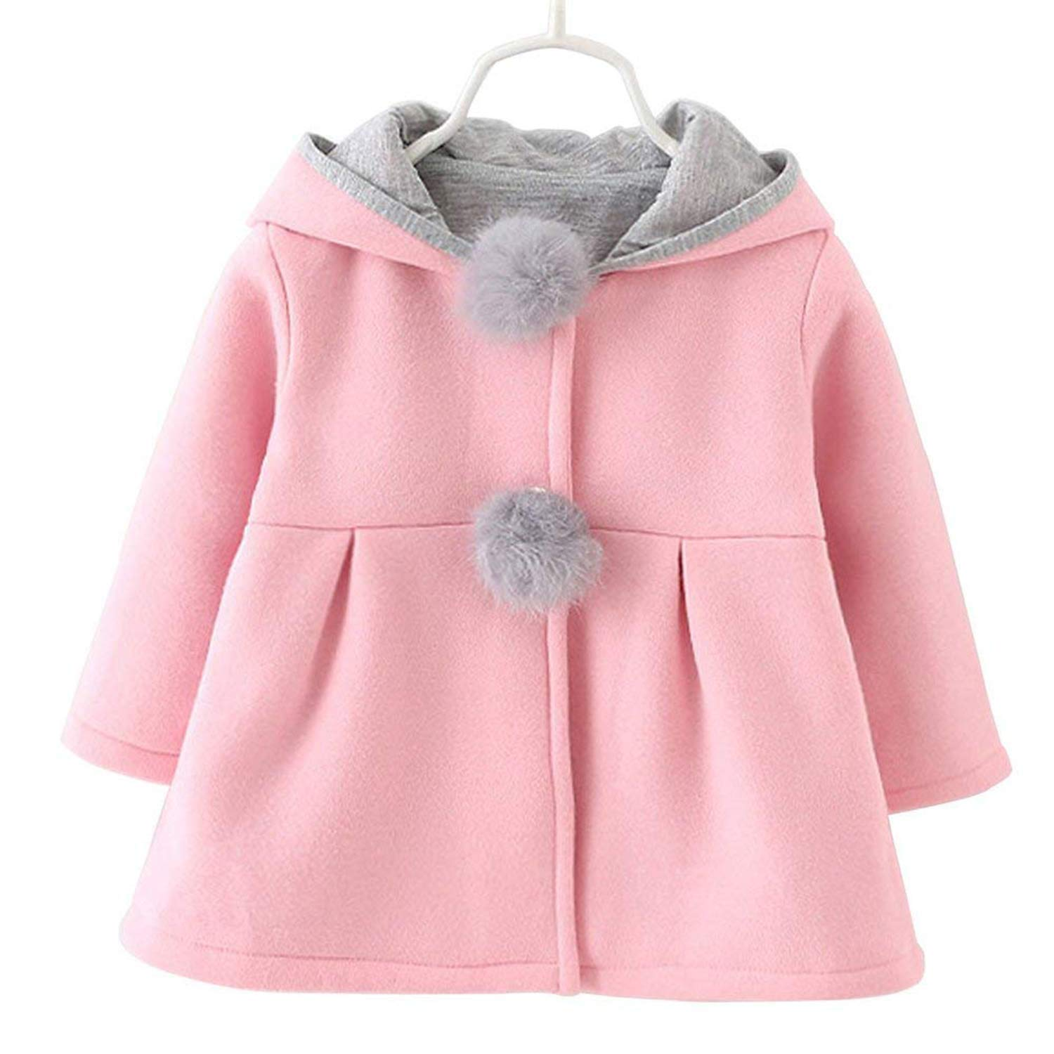66be0ab8d Baby Girls Toddler Kids Winter Big Ears Hoodie Jackets Outerwear ...