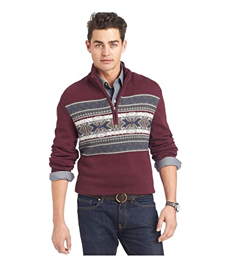 IZOD Mens Fair-Isle Snowflake Pullover Sweater fig XL at Amazon ...