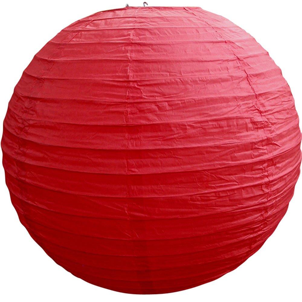 球体ペーパーランタン うね織り模様 ぶらさげるのに(電球は別売り) 36 Inch レッド 36EVP-RD 1 36 Inch レッド レッド 36 Inch B009ZYRYB0