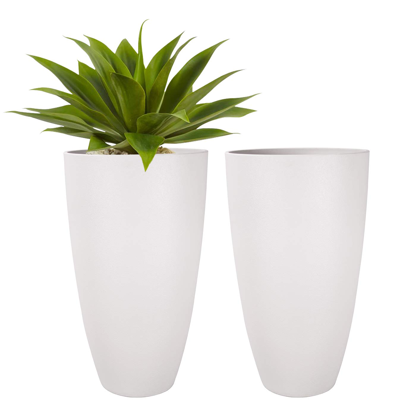 LA JOLIE MUSE Tall Planters Outdoor Indoor - Tree Planter 20 inch Modern White Flower Pots with Drainage Holes for Balcony Garden Patio Deck Resin Planters Pack 2