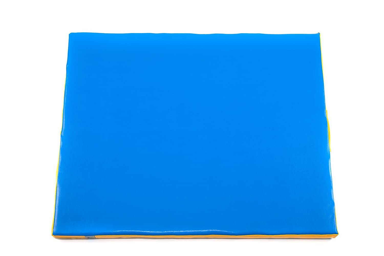 EZPLAY Premium Exercise Foam Mat 2 Thick, Perfect for Children s Active Play, Blue and Yellow, PU Leather, Zipper and Handle