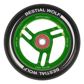 Bestial Wolf Rueda Race PU Color Negro y Core Verde, Diámetro 100 mm
