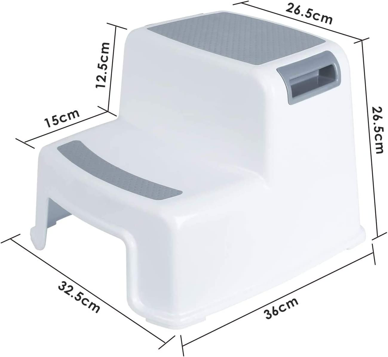 Easy to Clean And Portable Sturdy Kids Double Step Stool Kids Non-Slip Stool for Potty Training And Kitchen And Bathroom Use Rainberg Kids 2 Step Stool