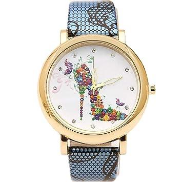 Meigold - Reloj de Cuarzo con Correa Impresa, Reloj Digital de Cuarzo para Mujer con diseño Casual de tacón Alto, Colorear-3, 4.3 * 2 cm: Amazon.es: Hogar