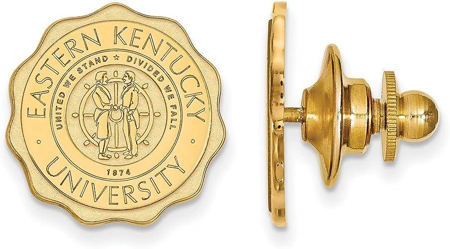 15mm x 15mm Jewel Tie 14k White Gold Eastern Kentucky University Crest Lapel Pin