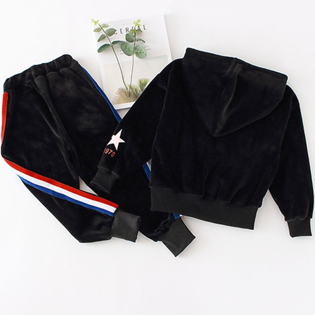 M&A Girls Casual Tracksuit Velvet Hoodie + Pants Clothing Set by M&A (Image #5)