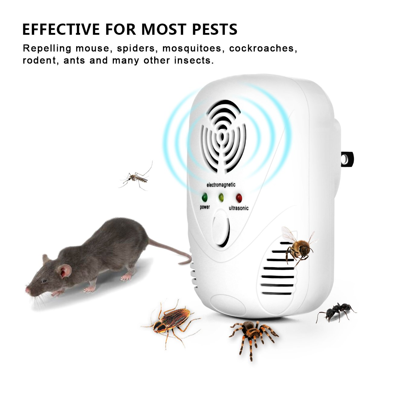 Shine Hai Ultrasonic Pest Repeller 2 150 Sq Ft Mosquito Repellent Circuitbest Repellentindoor Protection Per Unit Electronic Plug In For Mice Mosquitoes Spiders Roaches