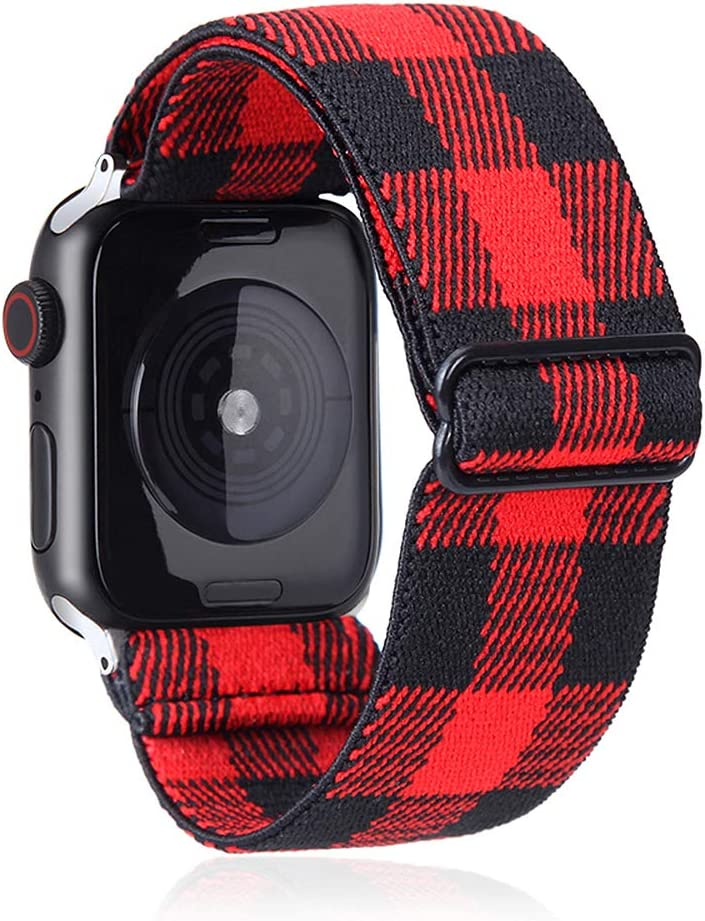 Elastic Watch Band Compatible with Apple Watch 38mm 40mm 42mm 44mm,Stretch Elastics Wristbelt Replacement Wristband for iWatch Series 5/4/3/2/1(Red Plaid,38MM/40MM)