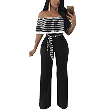 05aa317b8d03 Image Unavailable. Image not available for. Color  YYF Women s Wrap Chest  Ruffles Jumpsuits Lace Up Bodycon ...