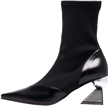 AJUNR Transpirable Zapatos de Mujer Señaló los Calcetines Zapatos Finos Especiales de Medio Elastico Botas Tacones