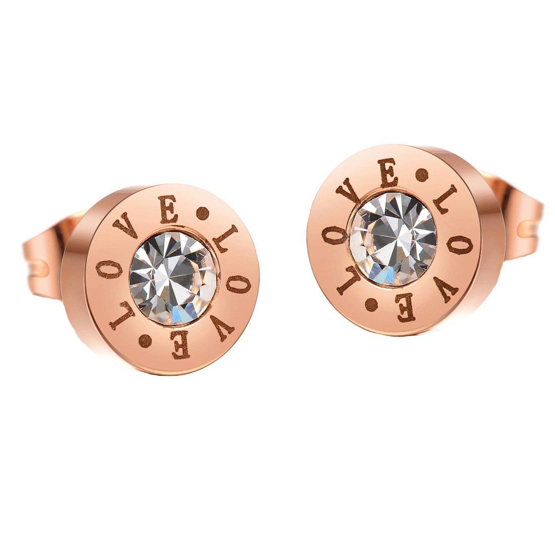 D.B.MOOD Womens Rose Gold Plated Earrings Stainless Steel Love Rhinestone Stud Earrings