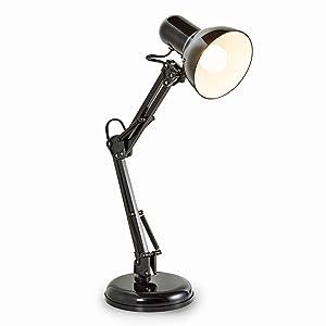 B.K. Licht lampe de bureau LED rétro, lampe de table LED, lampe bureau métal avec articulation, lampe de lecture, éclairage LED halogène, E14, 230V, IP20