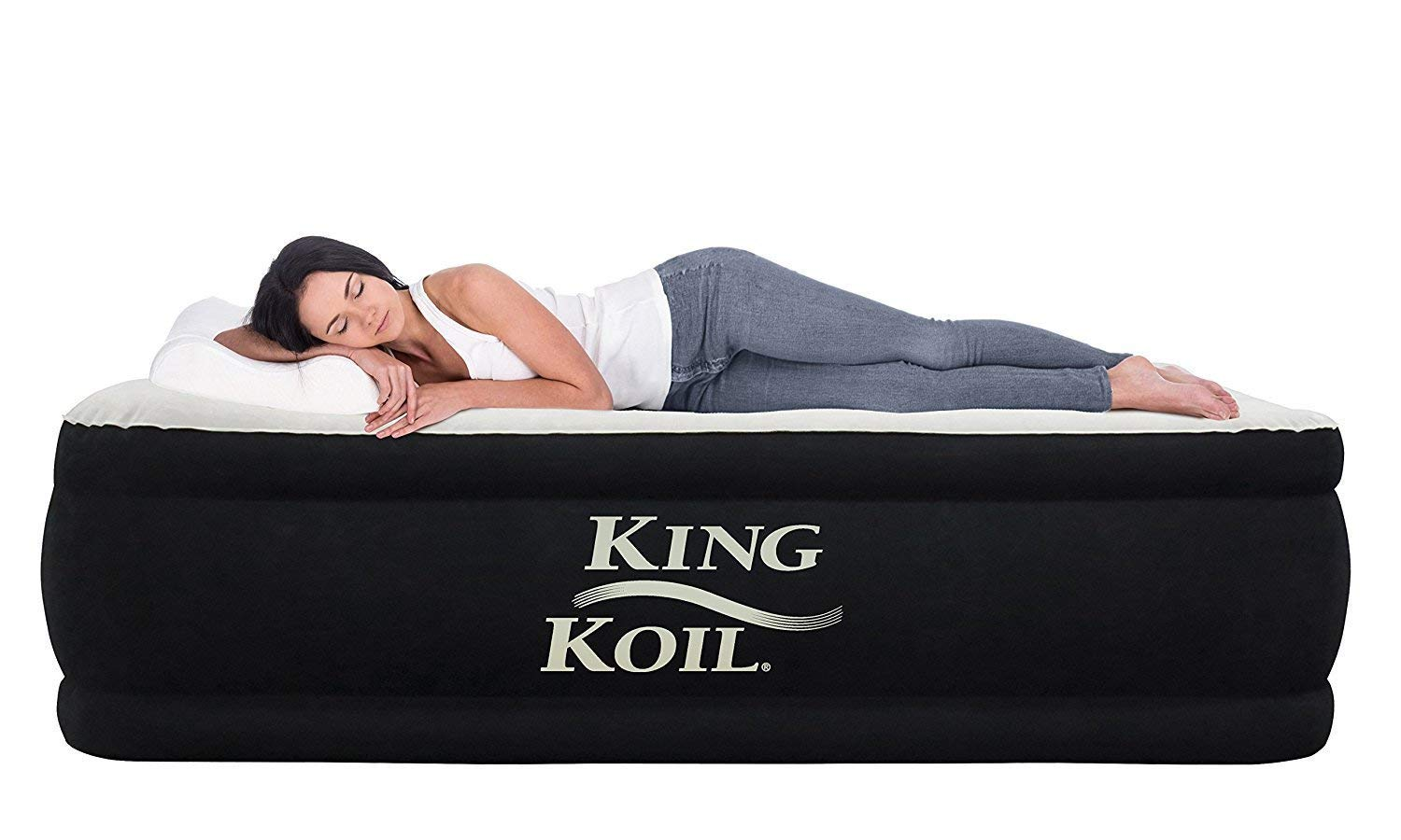 King Koil California King Luxury Raised Air Mattress with Built-in 120V AC High Capacity Internal Pump Comfort Quilt Top California King Airbed for Home Camping Travel 1-Year Manufacturer Guarantee by King Koil
