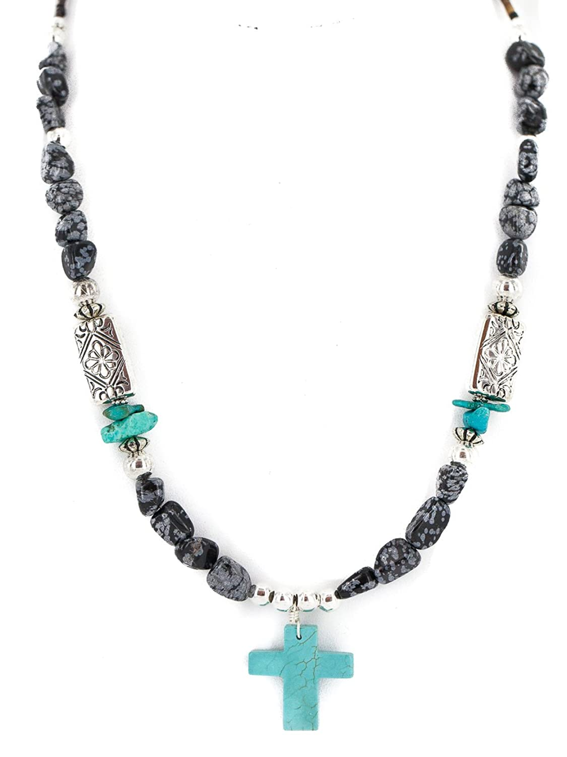 $250 Retail Tag Cross Silver Authentic Navajo Made by Charlene Little Natural Turquoise Snowflake Obsidian Native American Necklace