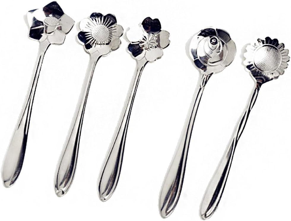 cosanter 5/piezas acero inoxidable cuchara de caf/é para lavavajillas t/é Cuchara con diferentes tipos de flores.