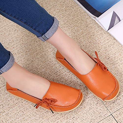 Boat Shoes Leather Shoes Up Lucksender Cowhide Womens Orange Driving Loafers Lace xqwUYACn8