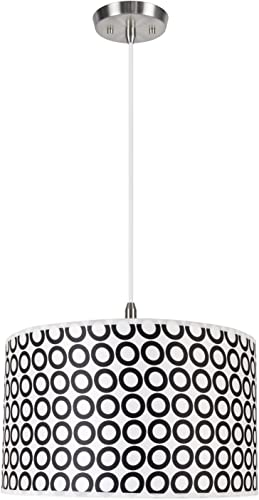 Aspen Creative Geometric 71008 Two-Light Pendant with Hardback Drum Shaped Spider Shade in Black White Print, 17 x 17 x 10