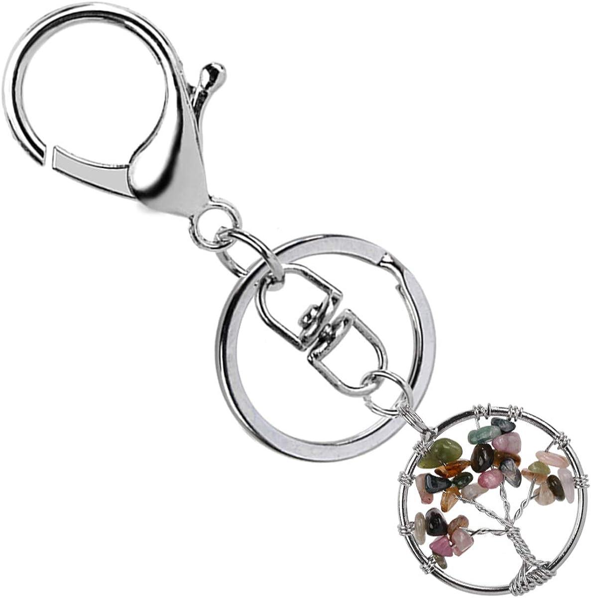 Szxc Silver Metal Swivel Lobster Clasps Lanyard Snap Hook Lobster Clasp Clip with Tree of Life Gemstone Pendant Birthstone Keychain Keyring Keyfob Key Holder