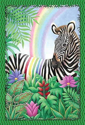 (Toland Home Garden Rainbow Stripe Zebra 28 x 40 Inch Decorative Colorful Exotic Animal House Flag)