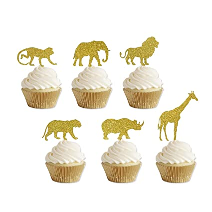Amazon Gold Glitter Jungle Safari Animal Cupcake Toppers