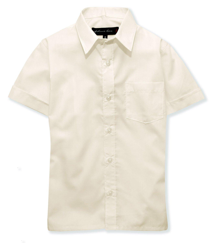 Johnnie Lene Boys Short Sleeves Solid Dress Shirt #JL44 (3T, Ivory)