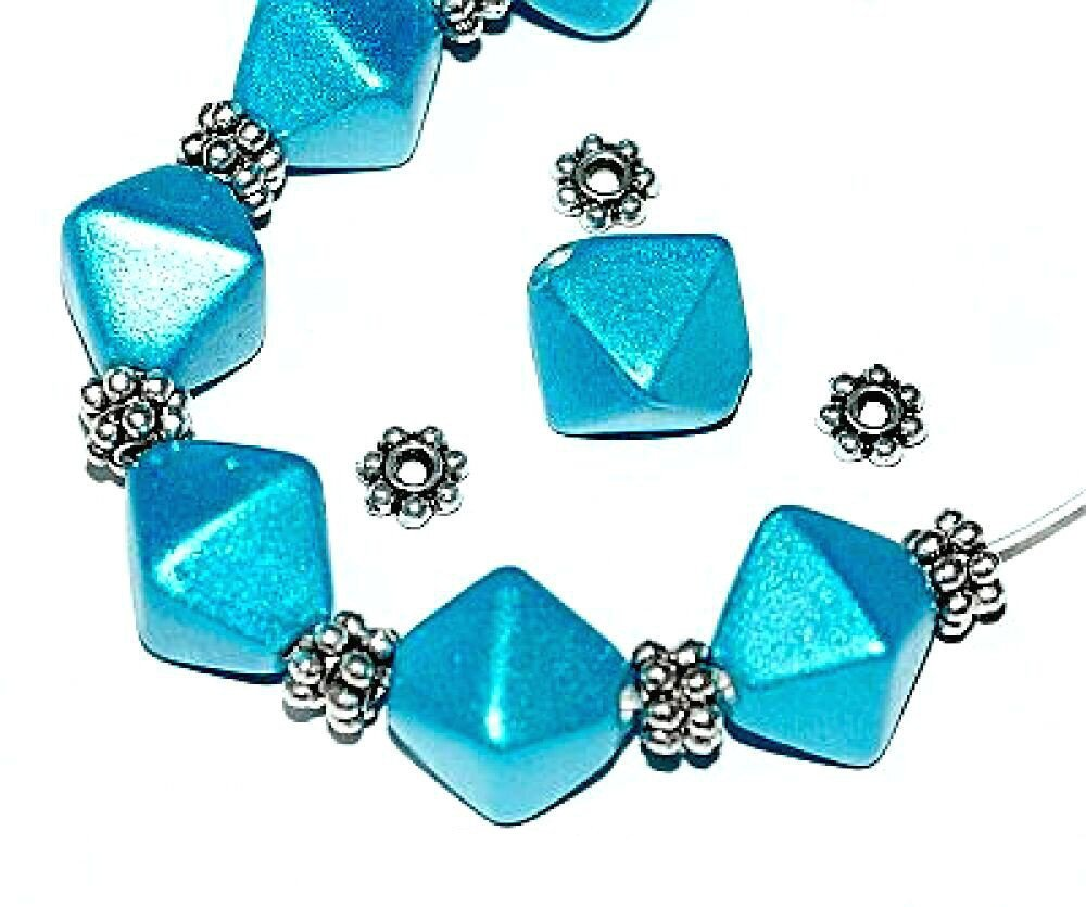 *HUGE CHARMS & BEADS SALE!* 10 x Turquoise 'Metallic Lustre' Bicone Glass Beads 13mm + 20 Silver Daisy Spacers (Ref:13A27) Just Say Beads