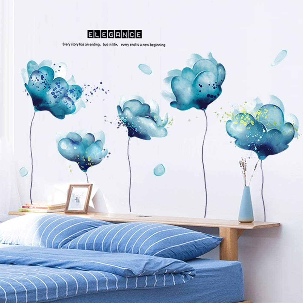 M ACHOOSE Wall Decals Blue Flowers Floral Removable Wall Art Mural Wall Stickers Wall Decal Home DéCor for Living Room Bedroom