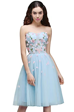 KuDress Tulle Flowers Gorgeous Short Sweetheart Lace-up Embroidery Homecoming Party Prom Dress(Customizable