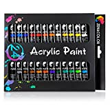24-tube acrylic paint set by Zenacolor – pack of 24 x 12ml paint tubes - High-quality non-toxic painting - 24 unique and different colors - Perfect for beginners and professionals alike - Dense pigments and fast drying – Can easily be used on canvas, wood, ceramic, clay, cloth, nails…and for handicraft