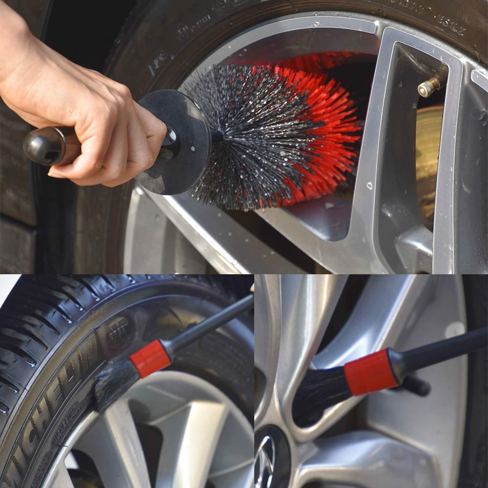 Car Wheel Cleaning Brush Kit & 18 inch Long Soft Bristle Tire Brush and 5 Different Sizes Boar Hair Detail Brushes Car Care Car Alloy Rim Cleaning Brushes