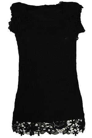 Hengsong - Blusa Encaje de Modal Fibra Sin Manga para Mujer (Negro, XXL)