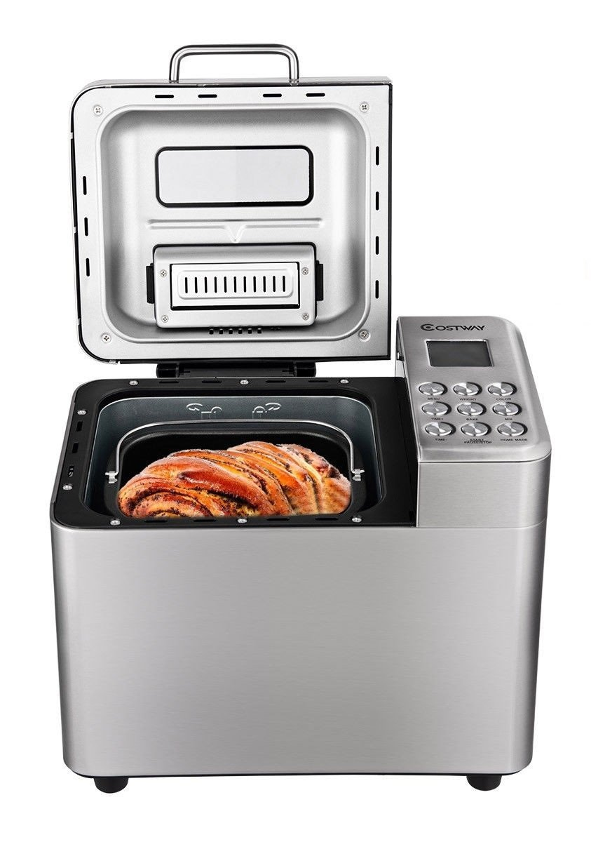 2 LB Stainless Steel Automatic Bread Maker Programmable Bread Machine