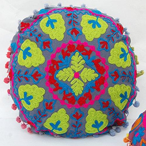 HANDICRAFTOFPINKCITY 2 pcs algodón Suzani decorativo redondo ...