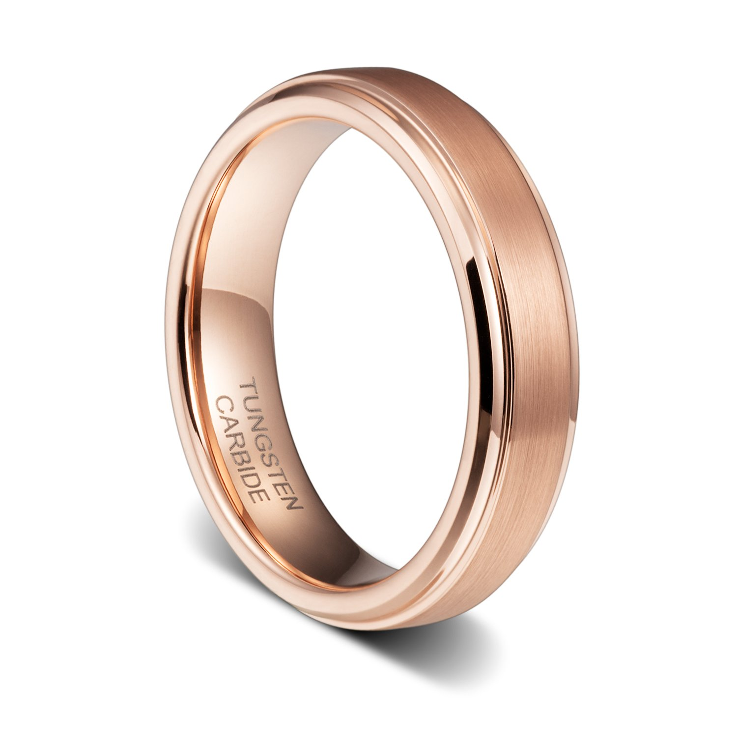 TUSEN JEWELRY 5mm Tungsten Carbide Ring Wedding Band Rose Gold Plated Brushed Step Edge Comfort Fit Size:7.5