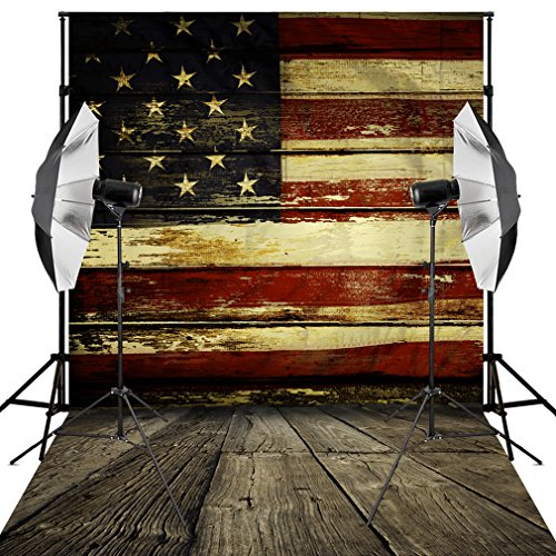 Kooer 5X7ft American Flag Backdrop Vintage United States US Flag Baby Children Photoshoot Vinyl Fabric Photography Background Patriotic Wood Floor for Studio Props -