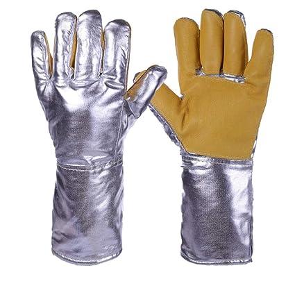ZfgG Guantes ignífugos de papel de aluminio, guantes de aislamiento de calor de dedo completo
