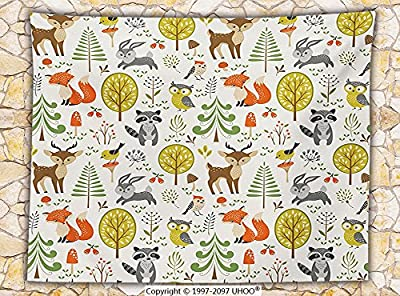 Kids Decor Fleece Throw Blanket Woodland Forest Animals Trees Birds Owls Fox Bunny Deer Raccoon Mushroom Home and Party Decorations Throw