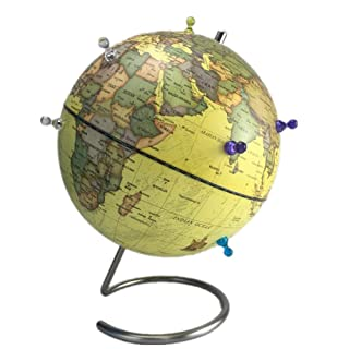 Fanuosu Mappamondo Globo Magnetico Insegnamento ausiliario Universale Girevole Globo Girevole da Tavolo Globe 25 Cm per Scuola/Bambini