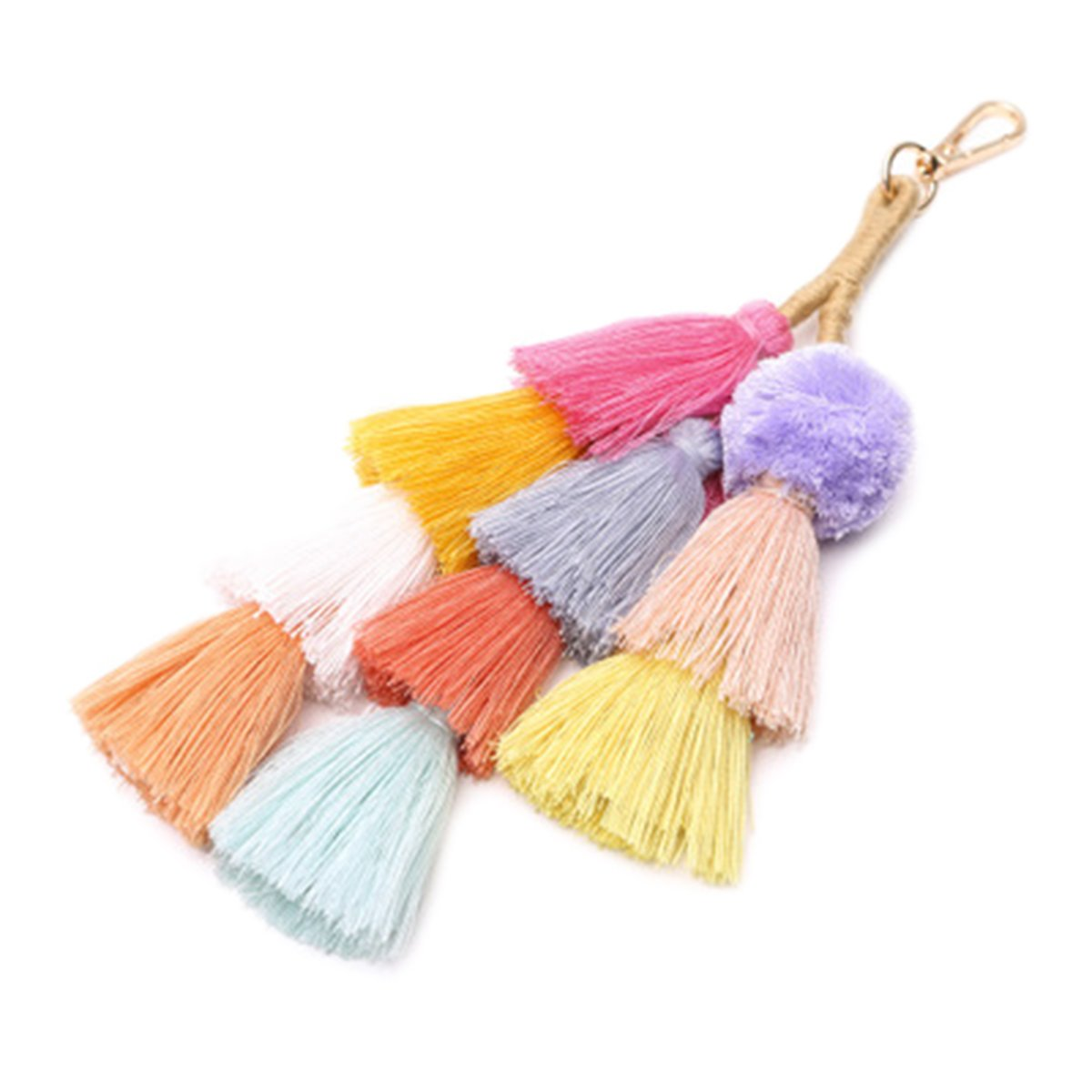 ZOONAI Women Colorful Tassel Charm Keychain Car Keyring Holder Handbag Bag Purse Pendant (A)