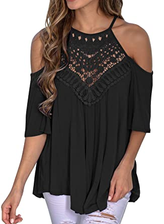 794cfaaefe66c6 MIHOLL Womans Casual Lace Blouse Summer Half Bell Sleeve Loose Top Shirt  (Small, Z