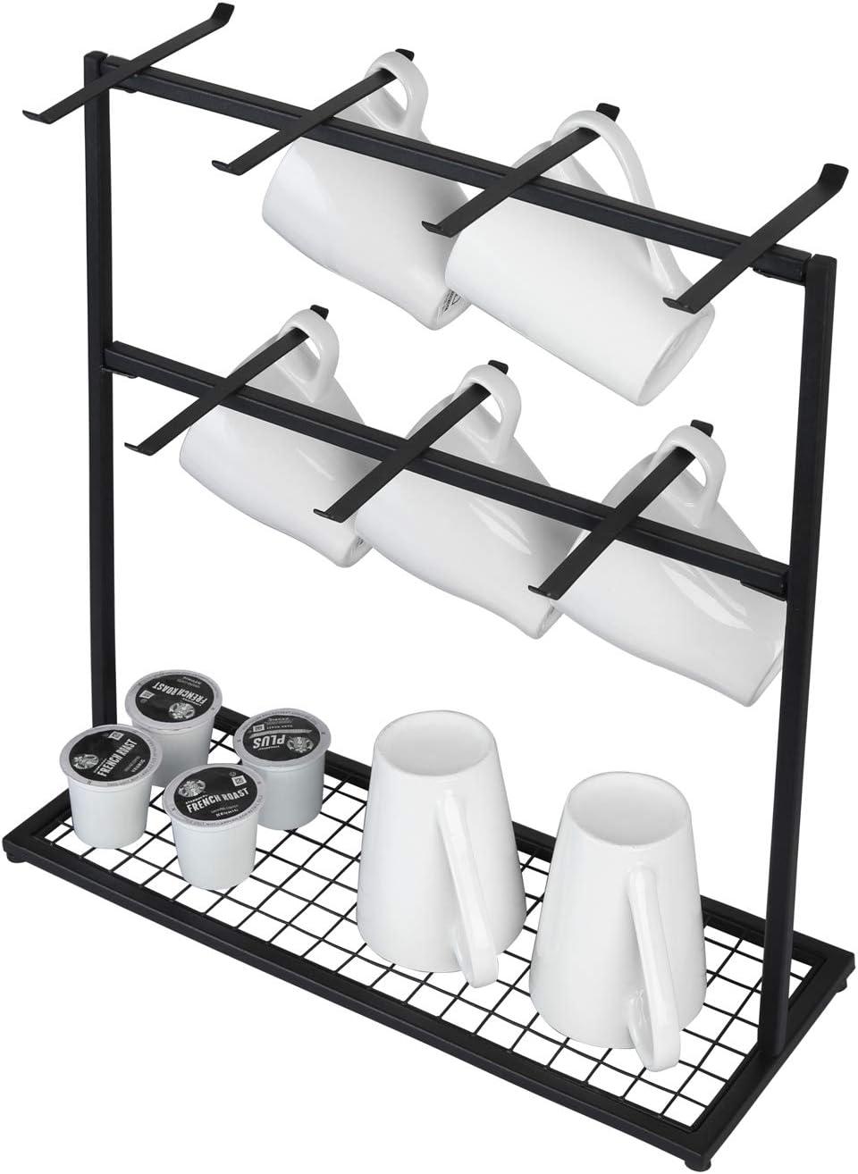 Matt-schwarz Vintage Tassenregal f/ür die K/üche OROPY Tassenhalter mit Aufbewahrungsboden Metall kaffeetassenst/änder mit 14 Haken