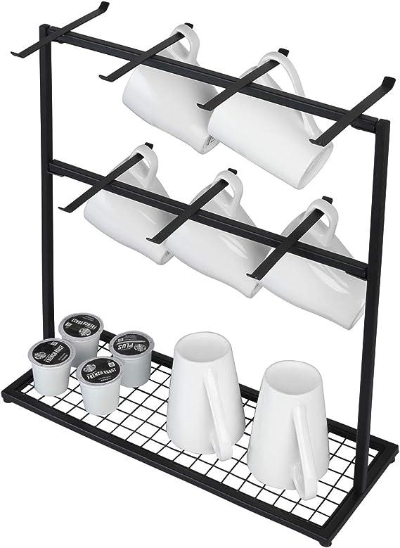 Portavasos Vintage para Cocina Estante Organizador de Taza de caf/é de 14 Ganchos de Metal Negro Mate OROPY Soportes para Tazas con Base de Almacenamiento