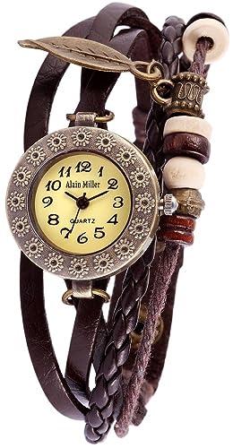Alain Miller Reloj Analógico para Mujer de Cuarzo con Correa en Cuero 1900134-004: Amazon.es: Relojes