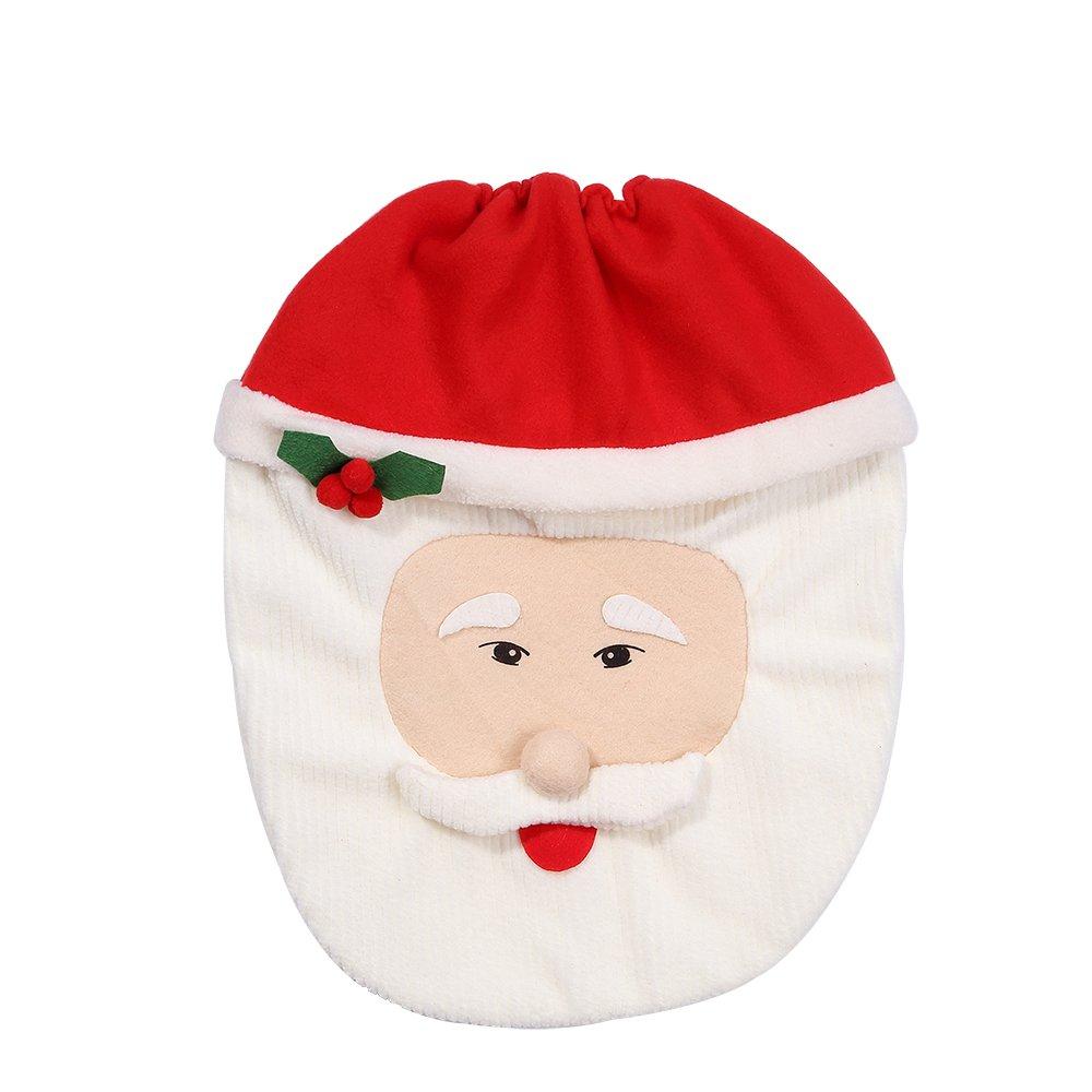 Kranich Decorazioni Natale WC Set 3 Babbo Sedile WC Coperchio e Tappeto /& Scatola del Tessuto