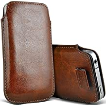 ONX3 (Brown) Kodak Ektra Case Slip In Pull Tab Faux Leather Pouch Case Cover