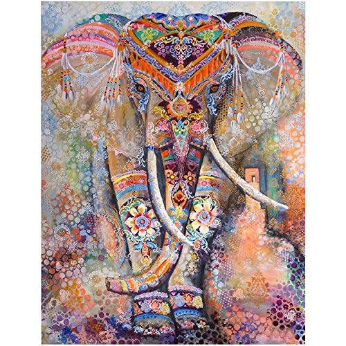 WATATA Elephant Flower Tapestry Popular Indian Wall Hanging Psychedelic Home Bohemian Tapestries (Large/80'x 60')