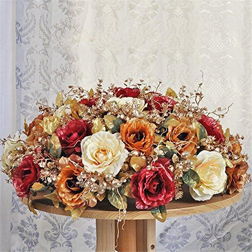 70 Cm Ceramic (SituMi Artificial Flower Large Rose Silk Cloth Phnom PenhCeramic Vases Meeting Room Ornaments,Red Gold 70Cm)
