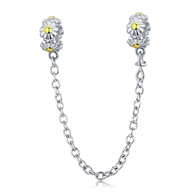 79649b035 Lily Jewelry Stackable Daisy Flower Safety Chain Stopper 925 Sterling  Silver Bead Fits Pandora European Charm Bracelet: Amazon.co.uk: Jewellery