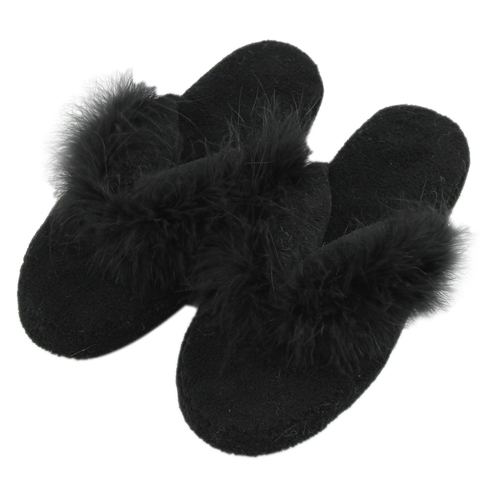 Home Slipper Fuzzy Slippers Flip-Flops,Women's Coral Gross Soft Sole Cute Indoor Slippers Non-Slip Fluffy Spa Thongs,Black,S