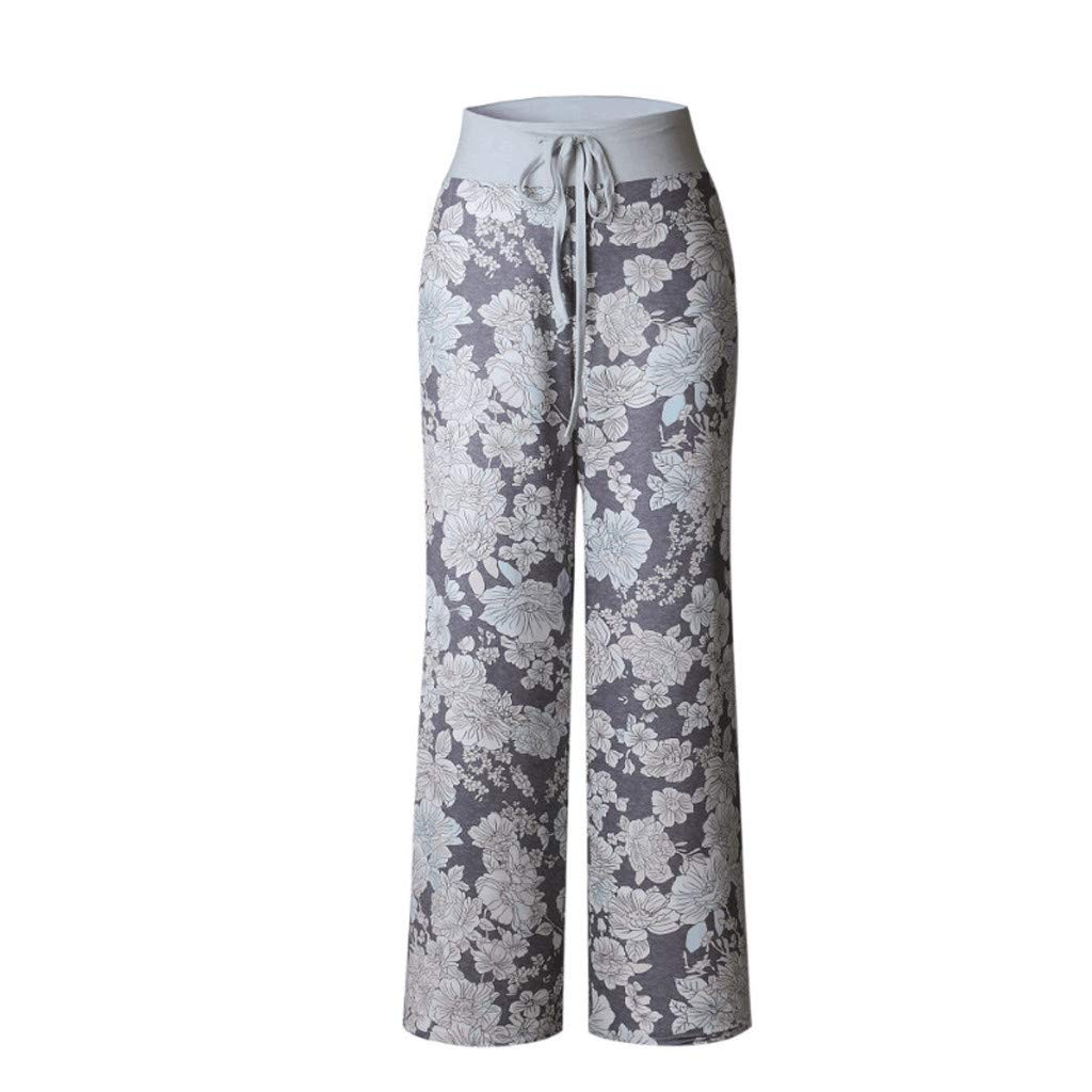 Jesaisque Womens Comfy Casual Stretch Floral Print Drawstring Wide Leg Lounge Pants Spring